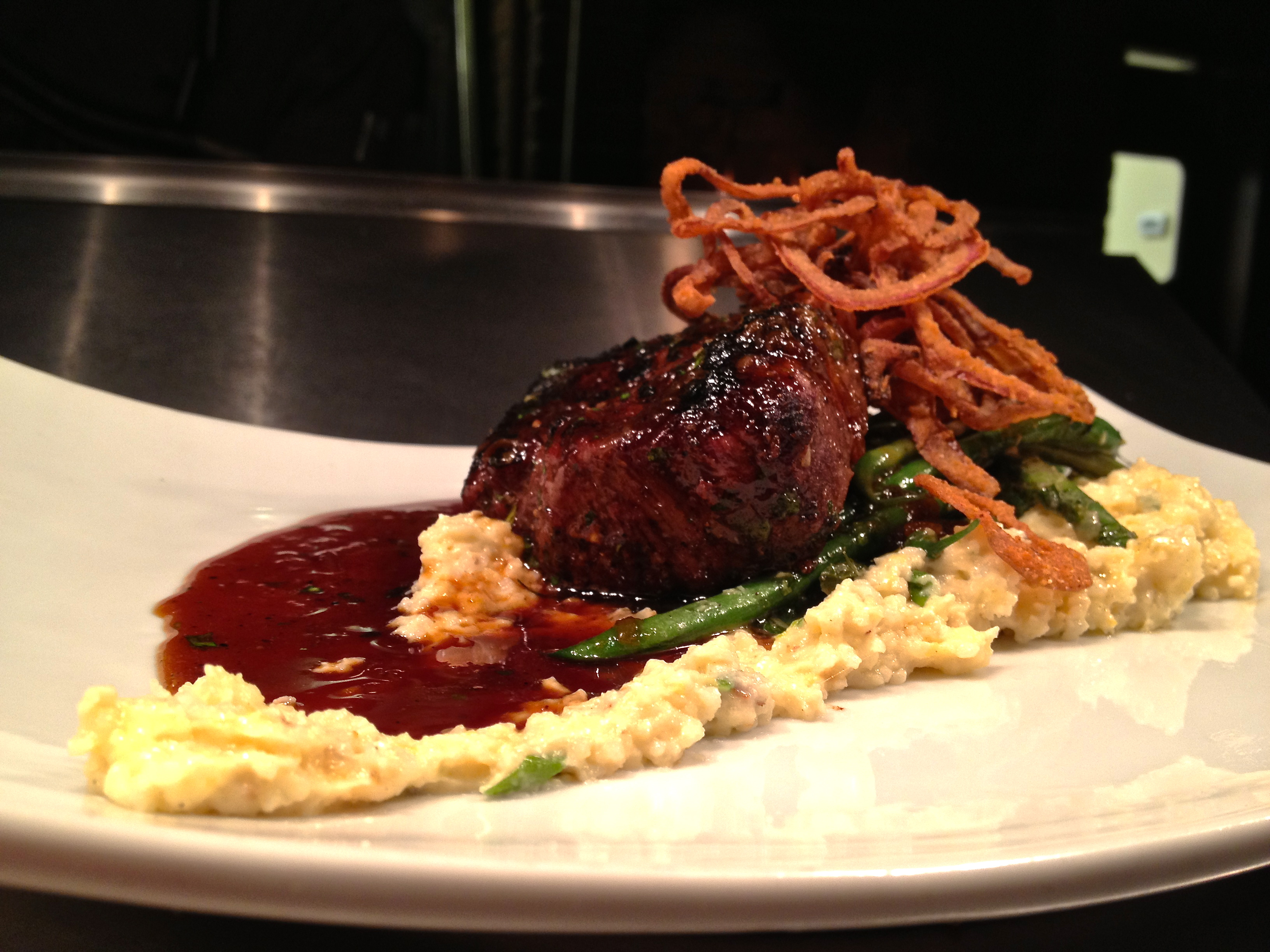 oz. Wood Grilled Beef Tenderloin/Smoked Cheddar Grits/Garlic Thin ...